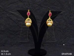 Ad Jewellery , Bell Moti Delicate Ad Earrings | Manek Ratna