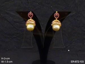 Ad Jewellery , Bell Moti Koyari Hooked Ad Earrings | Manek Ratna