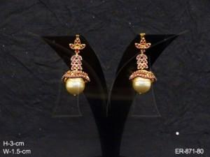 Ad Jewellery , Bell Moti Leaf Hanged Ad Earrings | Manek Ratna