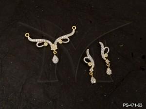 Ad Jewellery , Brace Curvy Party Wear Mangsutra Ad Pendant Set | Manek Ratna