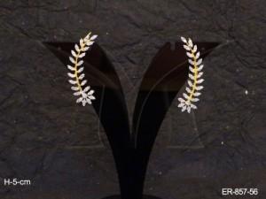Ad Jewellery , Double Leaf Pettals Flower Ad Earrings | Manek Ratna