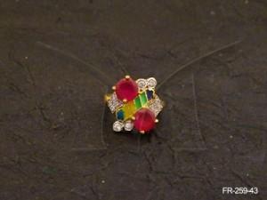 Ad Jewellery , Dual Stone Bar Ad Finger Ring | Manek Ratna