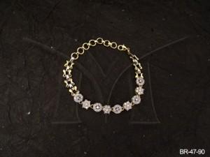 Ad Jewellery , Duet Designed Round Flower Ad Bracelet | Manek Ratna