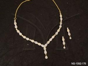Ad Jewellery , Duet Leaf  Segment Ad Necklace Set | Manek Ratna