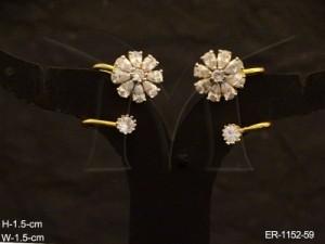 Ad Jewellery , Flower Curvy Office Wear Ad Earrings | Manek Ratna