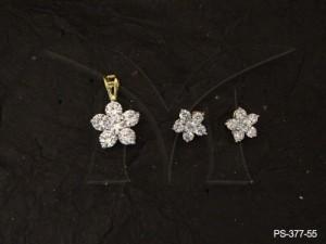 Ad Jewellery , Flower Delicate Ad Pendant Set | Manek Ratna