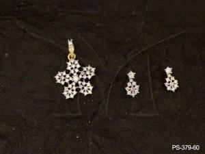Ad Jewellery , Flower Petaled Flower Ad Pendant Set | Manek Ratna