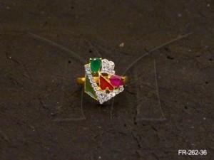 Ad Jewellery , Flowery Multi Trialgles Ad Finger Ring | Manek Ratna