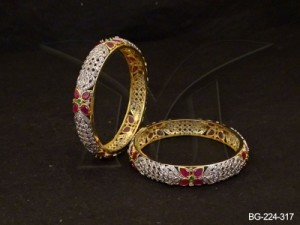 Ad Jewellery , Flowery Tiny Beads Ad Bangles | Manek Ratna
