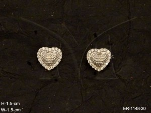 Ad Jewellery , Heart Shaped Delicate Party Ad Earrings | Manek Ratna