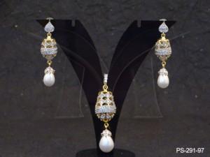 Ad Jewellery , Jumber Stylish With Drop Moti Ad Pendent Sets | Manek Ratna