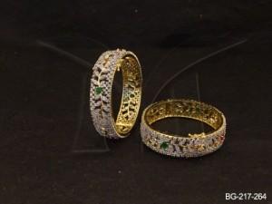 Ad Jewellery , Leaf Stemp Flower Ad Bangles | Manek Ratna