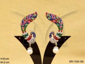 Ad Jewellery , Peacock Moti Drop Culf Ad Earrings | Manek Ratna