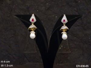 Ad Jewellery , Pie Hooked Oval Motiad Earrings | Manek Ratna