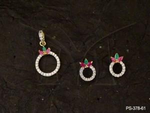 Ad Jewellery , Polo Round Delicate Ad Pendant Set | Manek Ratna