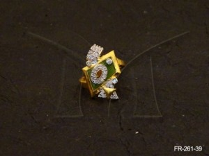 Ad Jewellery , Quadrilateral Polo Round Ad Finger Ring | Manek Ratna