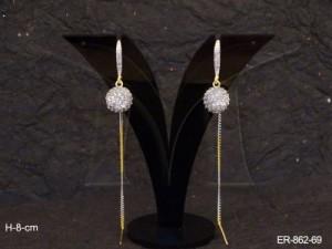 Ad Jewellery , Round Shape Ad Chain Drop Earrings | Manek Ratna