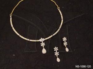 Ad Jewellery , Segmented Dual Flower Paan Ad Necklace Set | Manek Ratna