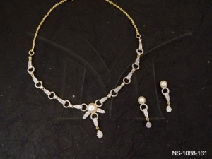Ad Jewellery , Small Pipe Chained Ad Necklace Set | Manek Ratna