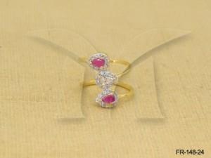 Ad Jewellery , Spiral Cross Paan Finger Ring | Manek Ratna