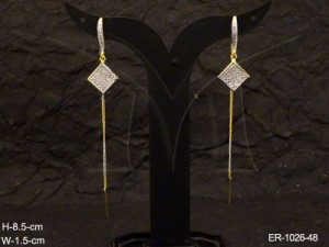 Ad Jewellery , Square Diamond Droped Ad Earrings | Manek Ratna