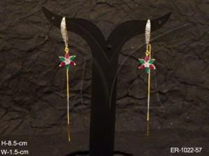 Ad Jewellery , Star Shaped Long Delicate Ad Earrings | Manek Ratna