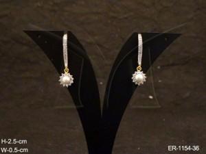 Ad Jewellery , Sunflower Drop Long Hooked Delicate Ad Earrings | Manek Ratna