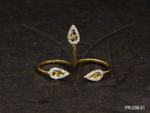 Ad Jewellery , Three Tear Simulated Diamond Two Finger Rings Fashion Retro Double Ad Finger Ring ...