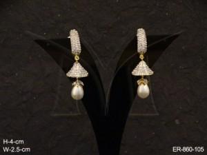 Ad Jewellery , Triangular Bell Oval Moti Ad Earrings | Manek Ratna