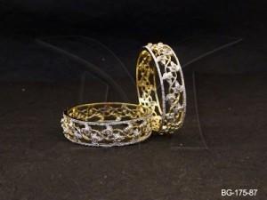 Ad Jewellery , Twisted Flowers Broad Bangles | Manek Ratna
