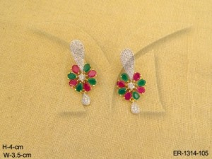 Ad Jewellery , Long Centered Paan Flower Ad Earring | Manek Ratna