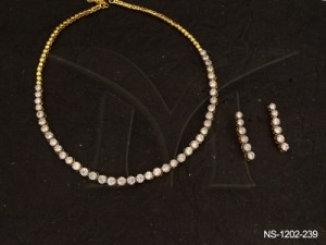 Ad Jewellery , Small Round Stones Ad Necklace Sets | Manek Ratna