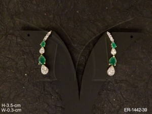 Ad Jewellery , Alternate Paan Stone Style Cuff Ad Earrings | Manek Ratna