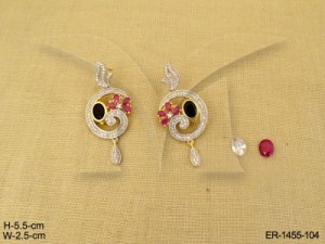 Ad Jewellery , Curved Snail Style Detachable Moti Ad Earrings | Manek Ratna