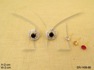 Ad Jewellery , Round Star Shaped Center Moti Ad Earrings | Manek Ratna