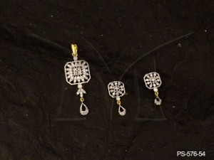 Ad Jewellery , Soft Edged Square Polo Paan Drop Ad Pendant Set | Manek Ratna