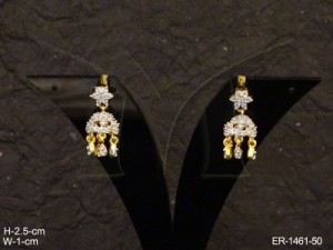 Ad Jewellery , Star Hold Paan Bell Drop Ad Earrings | Manek Ratna