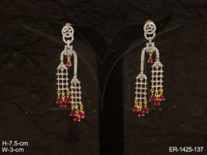 Ad Jewellery , Checks Textured Parallel Ad Earring | Manek Ratna