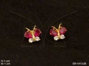 Ad Jewellery , Delicate Small Butterfly Style Ad Earrings | Manek Ratna