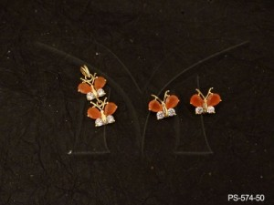 Ad Jewellery , Double Butterfly Designed Ad Pendant Set | Manek Ratna