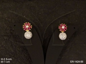 Ad Jewellery , Flower Round Drop Ad Earring | Manek Ratna