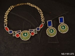 Ad Jewellery , Geometric Shaped Traditional Fusion Neclace Set | Manek Ratna