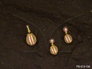 Ad Jewellery , Oval Shaped  Party Wear Ad Pendant Sets | Manek Ratna