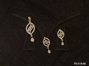 Ad Jewellery , Seed Shaped Curved Parallel Line Ad Pendant Set | Manek Ratna