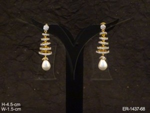 Ad Jewellery , Spiral Round Curved Moti Drop Long Ad Earrings | Manek Ratna