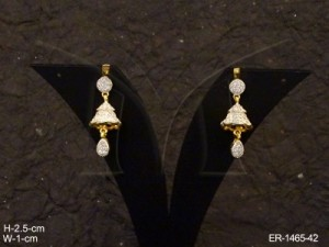 Ad Jewellery , Triangular Bell Style Delicate Ad Earrings | Manek Ratna