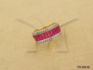 Ad Jewellery , Broad Layered Style Ad Finger Ring | Manek Ratna