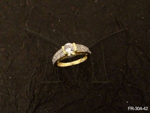Ad Jewellery , Broad Wrap Hold Center Moti Ad Finger Ring | Manek Ratna