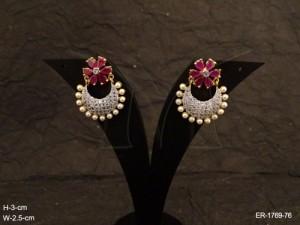 Ad Jewellery , Chand Bali Flower Type Ad Jewellery Earrings | Manek Ratna