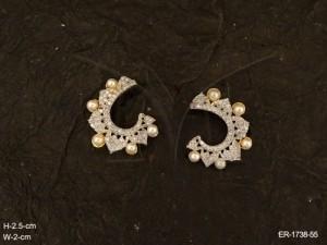 Ad Jewellery , Cuff Moti Drop Leaf Edged Ad Earrings | Manek Ratna